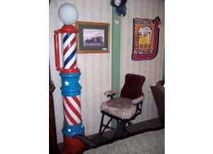 Vintage Barber Shop Pole and Chair