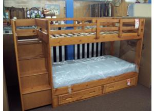 Solid wood step bunk bed set with mattresses