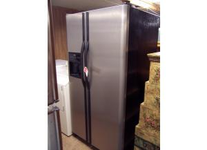 Stainless and Black side by side refrigerator