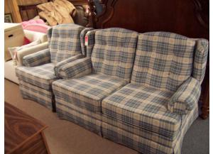 Blue plaid loveseat and chair