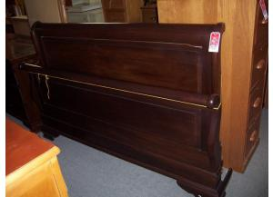 King Wooden cherry finish sleigh bed