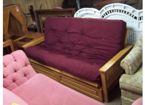 Preowned storage futon with brand new mattress