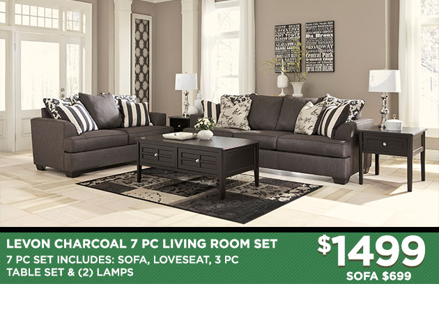 Levon Charcoal Sofa Love Set
