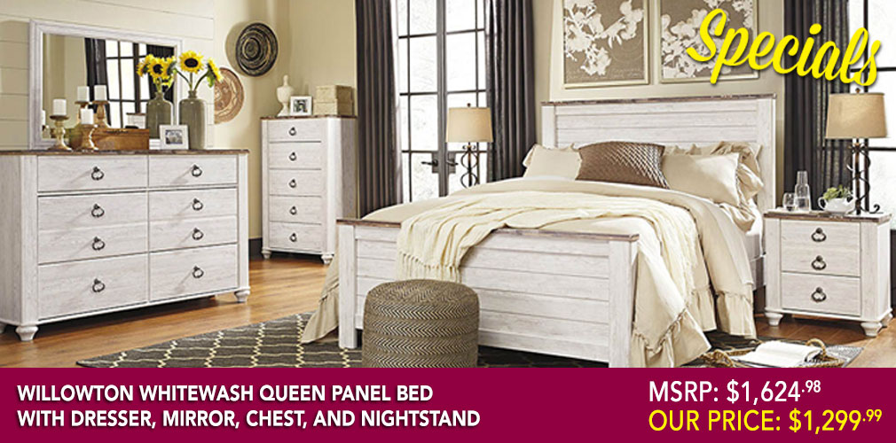 Willowton Whitewash Queen/Full Panel Bed w/Dresser, Mirror, Drawer Chest and Nightstand