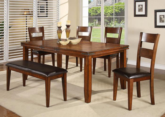 Figaro Rectangular Dining Room Table, 4 Chairs and Bench,Crown Mark