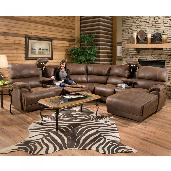 Empire Power Reclining Sectional with Massage and Chaise,FRANKLIN