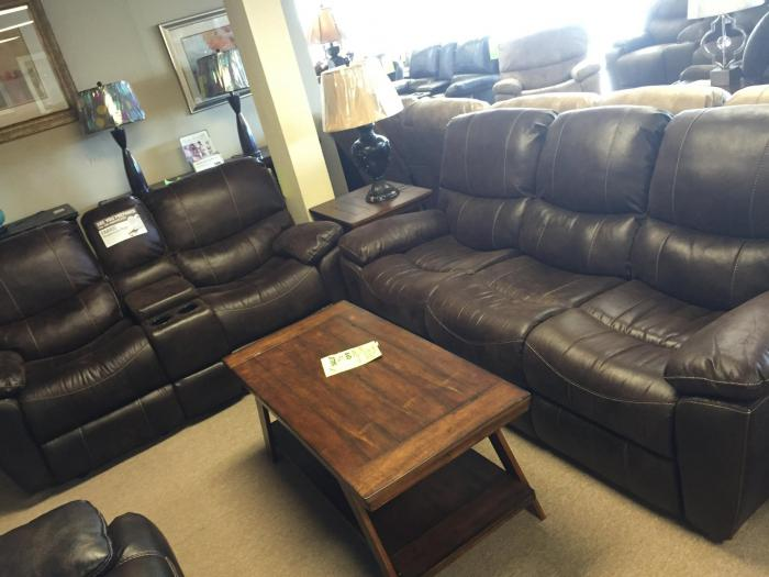 Dixie Expresso Reclining Sofa and Double Glider Reclining Loveseat,Synergy Home Furnishings