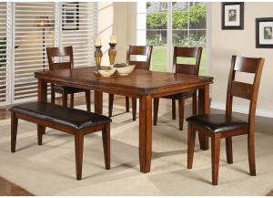 Figaro Rectangular Dining Room Table, 4 Chairs and Bench