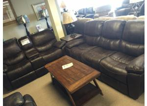 Dixie Expresso Reclining Sofa and Double Glider Reclining Loveseat
