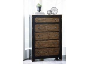 Dresser and Chest Black/Wood Tone