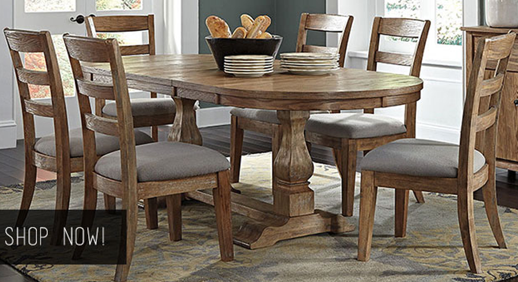 Danimore Light Brown Oval Extension Table w/ 6 Upholstered Side Chairs & Dining Room Server