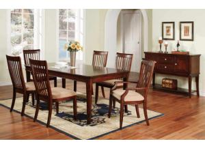 DTC24278 Topaz Leg Table w/ Leaf & 6 chairs