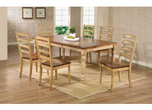 DQ14278W Quails Run Leg Table w/ Butterfly Leaf & 6 chairs