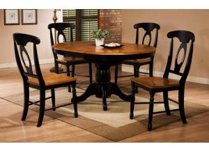 DQ14257AE Quails Run Round Pedestal Table w/ Butterfly Leaf & 4 chairs