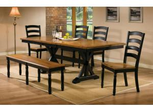 DQ14284AE Quails Run Trestle Table w/ 4 chairs & 48