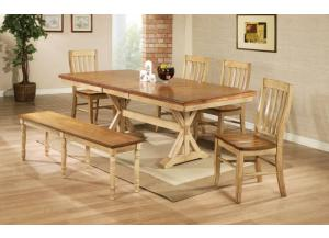DQ14284W Quails Run Trestle Table w/ Butterfly leaf, 4 chairs and bench