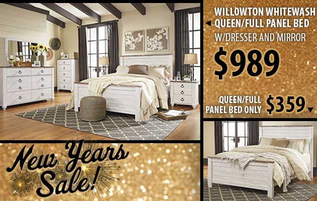 Willowton Whitewash Queen/Full Panel Bed w/Dresser and Mirror