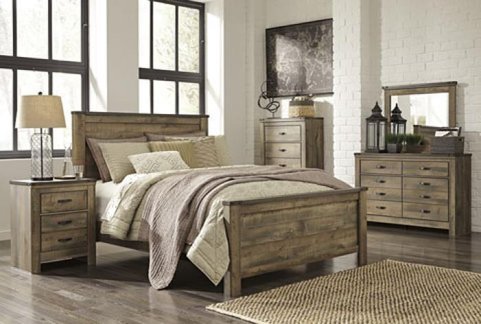 Trinell Queen Panel Bed w/ Dresser, Mirror Chest and Nightstand,Rooom by Room Specials