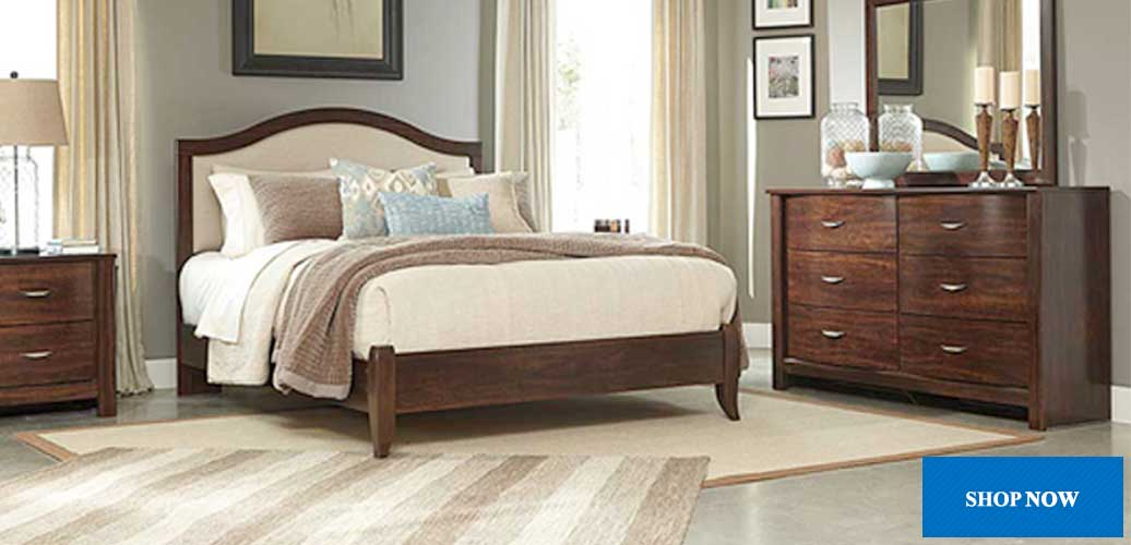 Corraya Medium Brown Queen Upholstered Panel Bed, Dresser, Mirror, Chest & Nightstand
