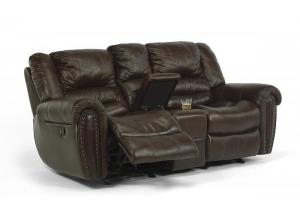 Crosstown Leather Gliding Reclining Console Loveseat