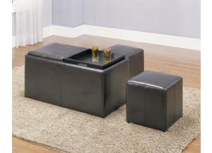 Claire Bench with 2 Ottomans & Trays