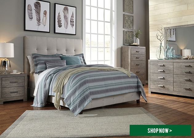 Beige Queen Upholstered Bed