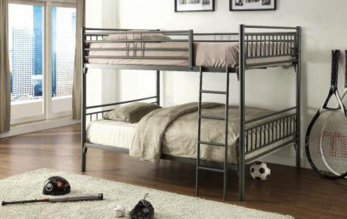 Graphite Finish Full Over Full Metal Bunkbed,Home Source Furniture
