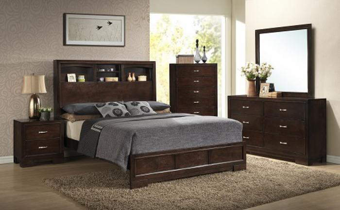 Walnut Finish Dresser, Mirror, Queen Bookcase Bed and Nightstand,Lifestyle