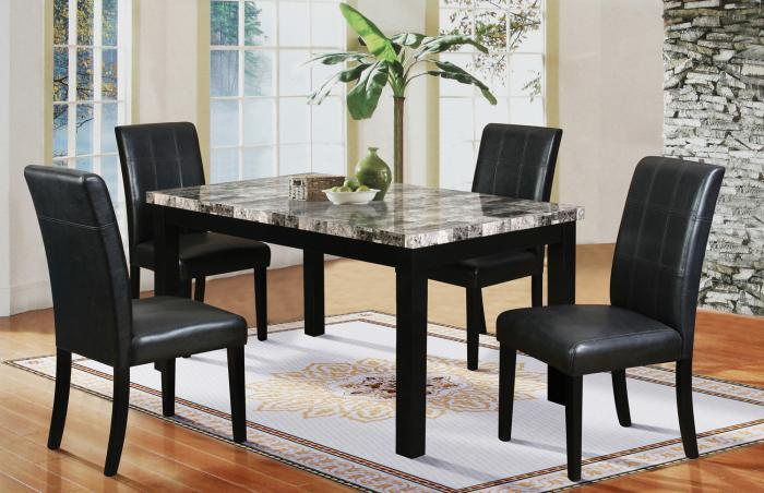 Hazelwood Black Faux Marble Dinette Table and 4 Faux Leather Chairs,Home Source Furniture