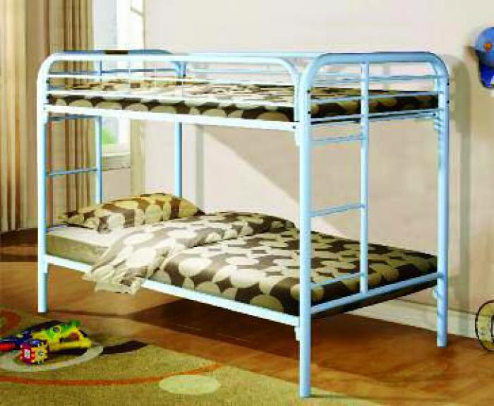 White Twin Metal Bunkbed,Home Source Furniture