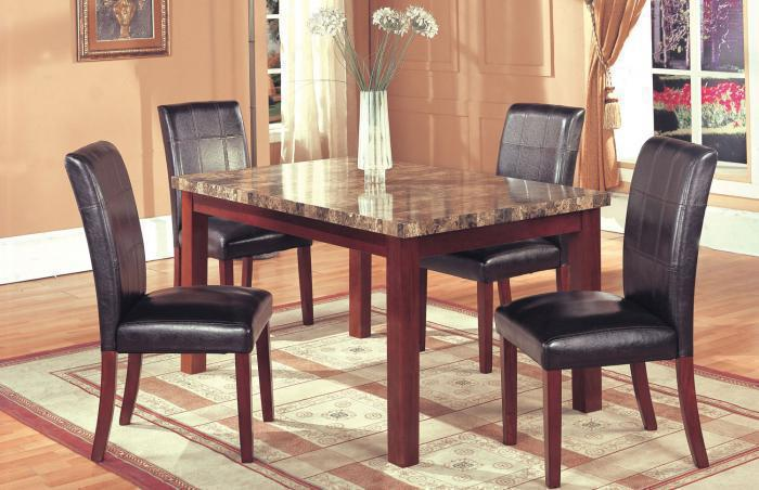 Hazelwood Cherry Faux Marble Dinette Table and 4 Faux Leather Side Chairs,Home Source Furniture