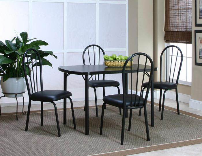 Ebony Dinette Table and 4 Side Chairs,Cramco Dinettes