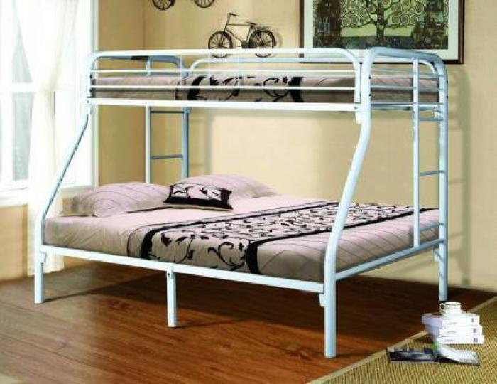White Twin/Full Metal Bunkbed,Home Source Furniture
