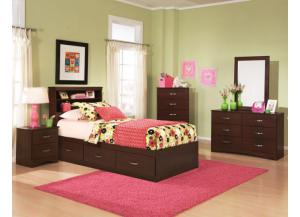 Briar Cherry Twin Bookcase Headboard and Mates Bed