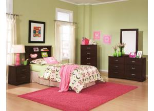Briar Cherry Twin Bookcase Headboard