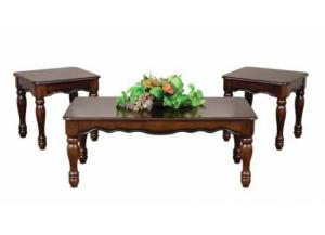 Cherry Finish 3 Piece Coffee and End Tables Set