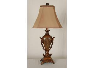 Table Lamp Mahogany and Amber Finish
