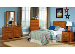 Tanner Youth Dresser, Mirror, Twin Panel Headboard and Nightstand