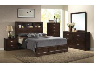Walnut Finish Dresser, Mirror, Queen Bookcase Bed, Nightstand & Chest