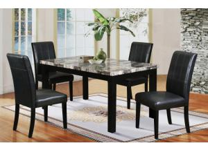 Hazelwood Black Faux Marble Dinette Table and 4 Faux Leather Chairs
