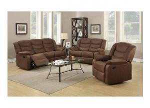 Cocoa Microfiber Reclining 3PC Sofa/Loveseat/Recliner