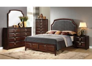 Varnish Oak Dresser, Mirror and King Bed