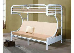 White C-Frame Futon Bunkbed,Home Source Furniture