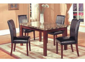 Hazelwood Cherry Faux Marble Dinette Table and 4 Faux Leather Side Chairs