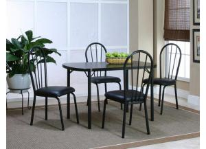 Ebony Dinette Table and 4 Side Chairs