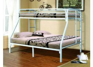 White Twin/Full Metal Bunkbed