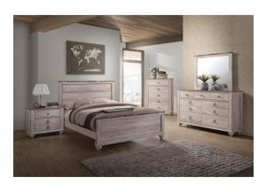 Whitewash Antique Walnut Bedroom Dresser, Mirror, Queen Headboard, Footboard and Rails