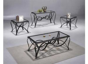Monarch 3 Piece Glass and Metal Table Set