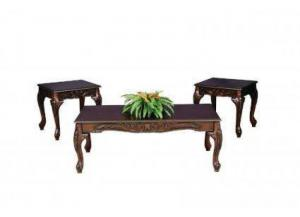 Sculpted Cherry Finish 3 Piece Table Set