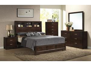 Walnut Finish Queen Bookcase Bed